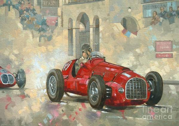 Whitehead; Male; Car; Race Car; Vehicle; Racing; Driver; Track; Racetrack; Race Track; Vintage; Racer; Red; Classic Cars; Auto; Sportscar; Race Poster featuring the painting Whitehead's Ferrari Passing The Pavillion - Jersey by Peter Miller