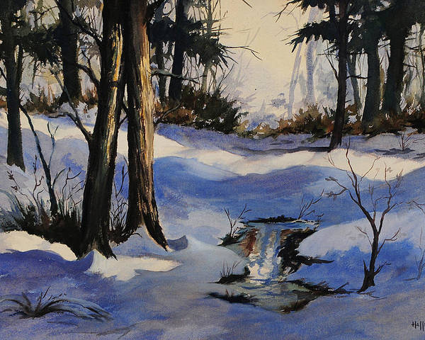 Bob Hallmark Poster featuring the painting Winter Shadows by Bob Hallmark