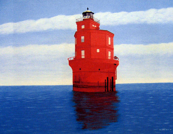 Lighthouse Paintings Poster featuring the painting Wolf Trap Lighthouse by Frederic Kohli