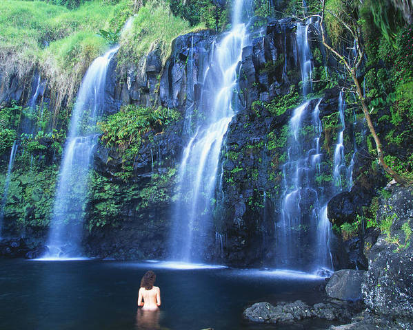 Base Poster featuring the photograph Woman At Waterfall by Dave Fleetham - Printscapes