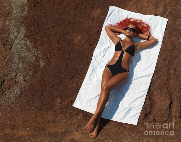 Sunbathing Poster featuring the photograph Woman Sunbathing by Oleksiy Maksymenko