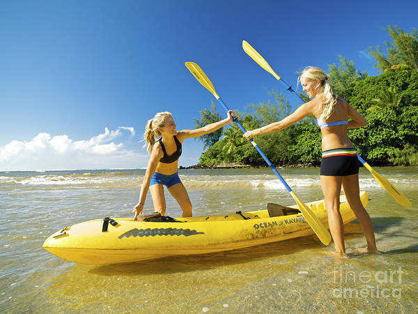 Active Poster featuring the photograph Women Kayakers by Kicka Witte - Printscapes