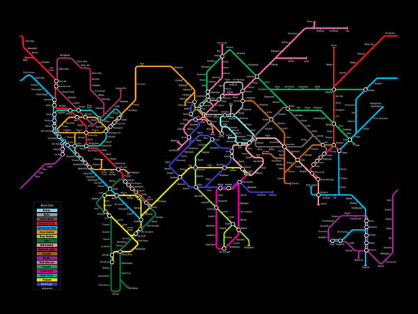 world Map Poster featuring the digital art World Metro Map by Michael Tompsett
