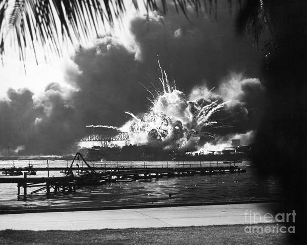 1941 Poster featuring the photograph World War II: Pearl Harbor by Granger