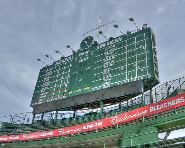 Chicago Cubs Poster featuring the photograph Wrigley Scoreboard by David Bearden