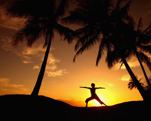 Air Poster featuring the photograph Yoga At Sunset by Ron Dahlquist - Printscapes