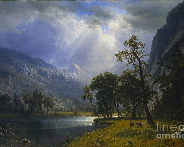 Albert_bierstadt_-_yosemite_valley_(1866) Poster featuring the painting Yosemite_valley by MotionAge Designs