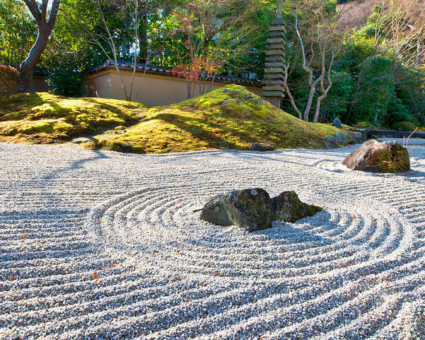 Abstract Poster featuring the photograph Zen Garden At A Sunny Morning by U Schade