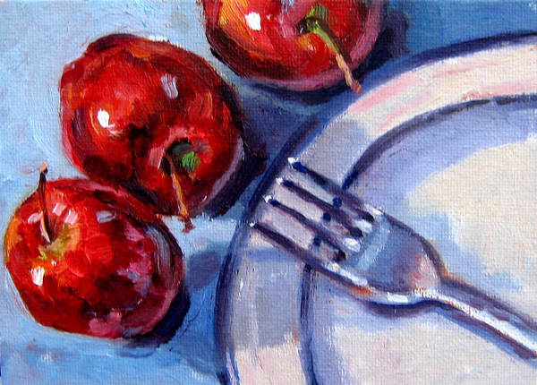 Apples. Oil Paint Poster featuring the painting 10 O'clock High by Mark Hartung