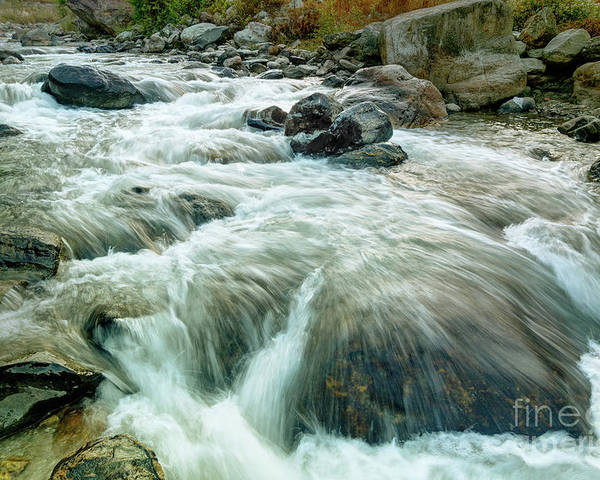 Reshi Poster featuring the photograph River Water Flowing Through Rocks At Dawn by Rudra Narayan Mitra
