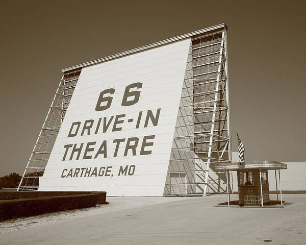 66 Poster featuring the photograph Route 66 - Drive-in Theatre by Frank Romeo