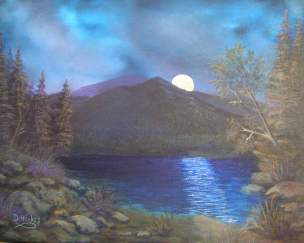 Full Moon Poster featuring the painting 100719 1216 Be Still by Donna Heikes