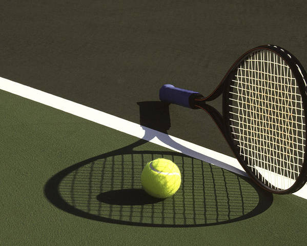Tennis; Racquet; Ball; Balls; Shadow; Game; Games; Sport; Sports; Shadow; Tennis Ball; Tennis Racquet; Competition Poster featuring the photograph 10sne1 by Gerard Fritz