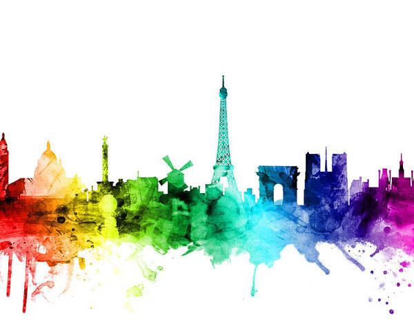 Paris Poster featuring the digital art Paris France Skyline by Michael Tompsett