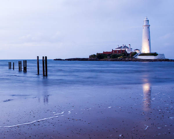 Whitley Poster featuring the photograph Saint Mary's Lighthouse At Whitley Bay by Ian Middleton