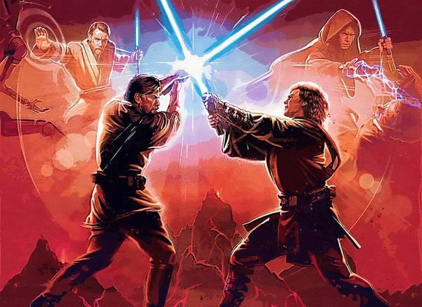 Kids Star Wars Poster featuring the digital art Star Wars Episode 2 Poster by Larry Jones