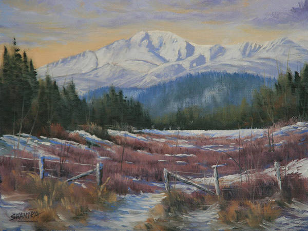 Pikes Peak Poster featuring the painting 110123-68 Winters' Rejuvenation by Kenneth Shanika