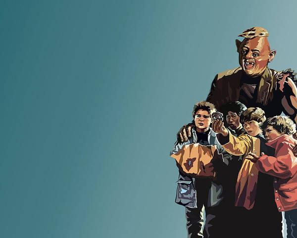 The Goonies Poster featuring the digital art 112. Never Say Die by Tam Hazlewood