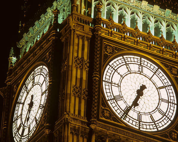 Big Ben Poster featuring the photograph Big Ben In London by Carl Purcell