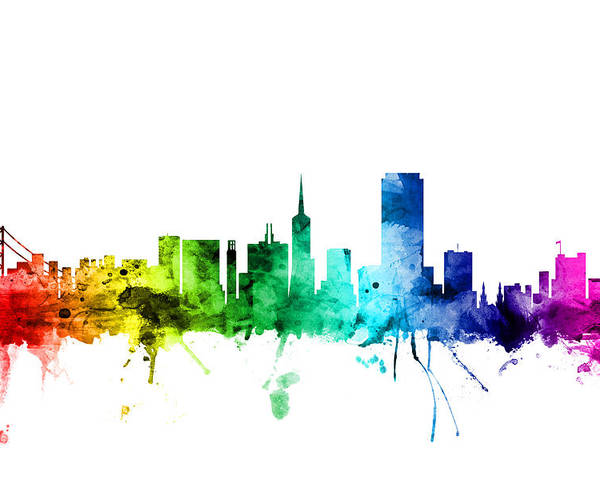 442cae3a43d San Francisco Poster featuring the digital art San Francisco City Skyline  by Michael Tompsett