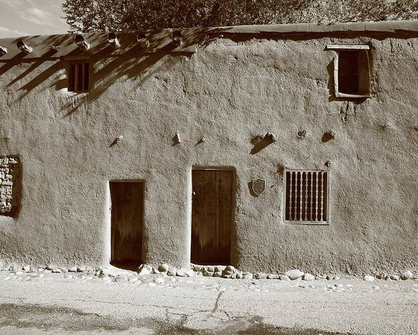 Adobe Poster featuring the photograph Santa Fe - Adobe Building by Frank Romeo