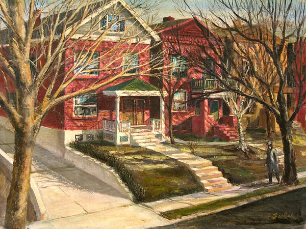 City Scenes Streetscape  Neighborhood  Houses   Driveway  Oldneighborhood  City Cityblock  Poster featuring the painting 1385 Clara Avenue by Edward Farber