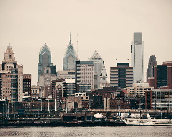 Philadelphia Poster featuring the photograph Philadelphia Skyline by Songquan Deng