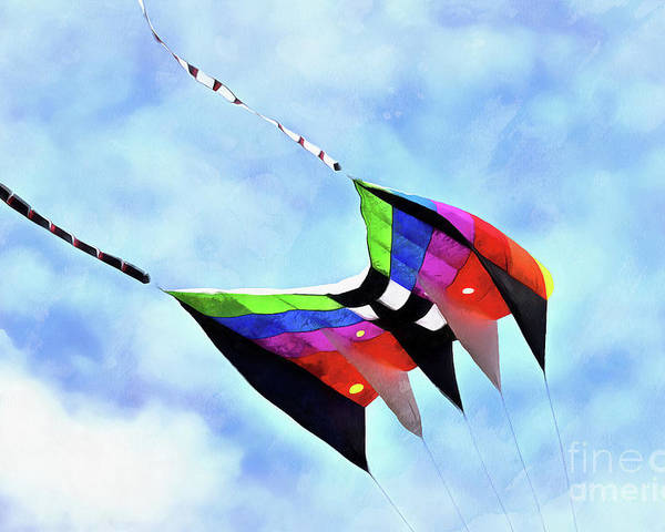 Art Poster featuring the painting Kite Flying During Kite Festival 16 by George Atsametakis