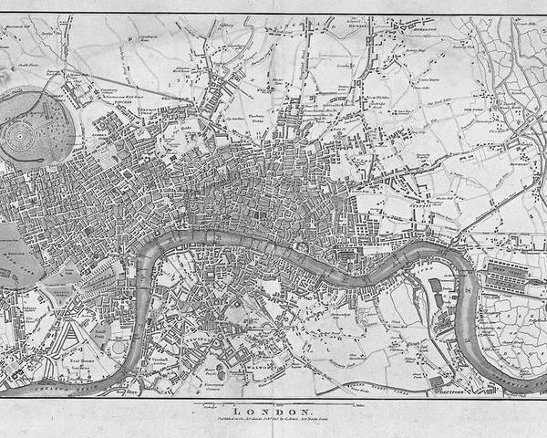 Map Of England Poster.1800s London Map Black And White London England Poster