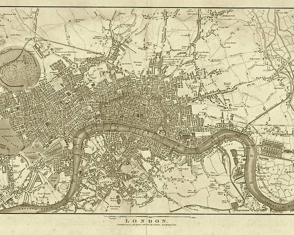 A Map Of London England.1800s London Map Sepia London England Poster