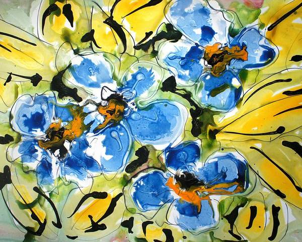 Floral Poster featuring the painting Heavenly Flowers by Baljit Chadha