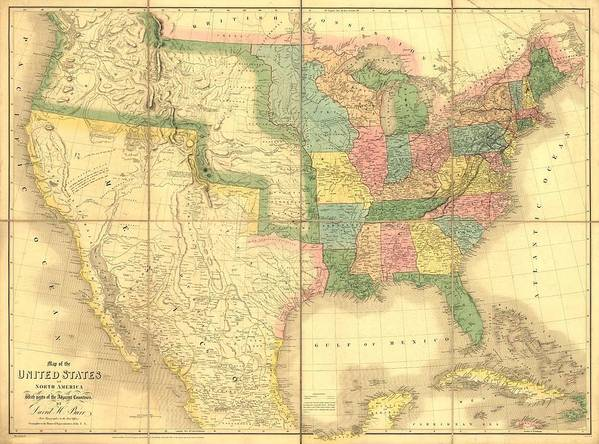 History Poster featuring the photograph 1839 Map Showing Us-mexican Boundary by Everett