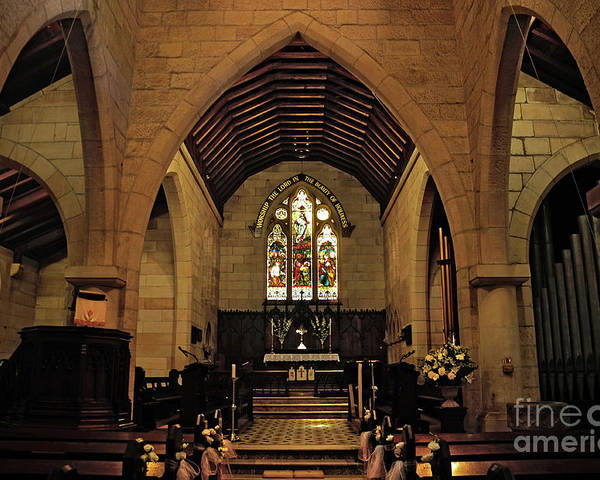 Photography Poster featuring the photograph 1865 - St. Jude's Church - Interior by Kaye Menner