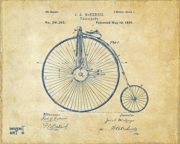 Velocipede Poster featuring the digital art 1881 Velocipede Bicycle Patent Artwork - Vintage by Nikki Marie Smith