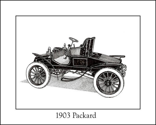Framed Pen And Ink Images Of Classic Cars. Pen And Ink Drawings Of Vintage Classic Cars. Black And White Drawings Of Cars From The 1930�s Poster featuring the drawing 1903 Packard by Jack Pumphrey