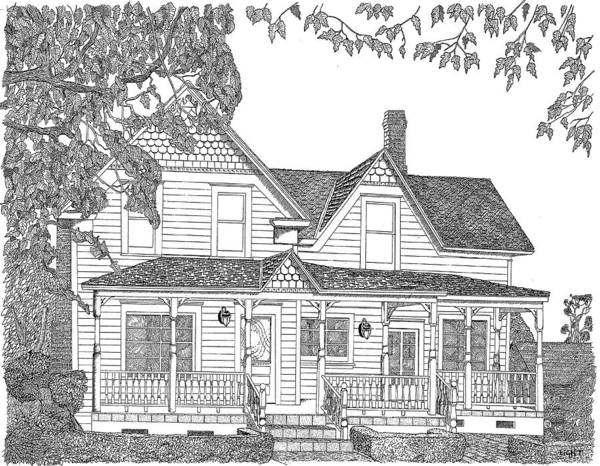 Pen And Ink Poster featuring the drawing 1906 Victorian Farmhouse by Mike Light