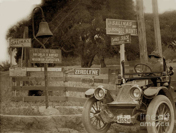 1911 Franklin Model G Auto Poster featuring the photograph 1911 Franklin Model G Auto El Camino Real Mission Bell Near The H by California Views Archives Mr Pat Hathaway Archives