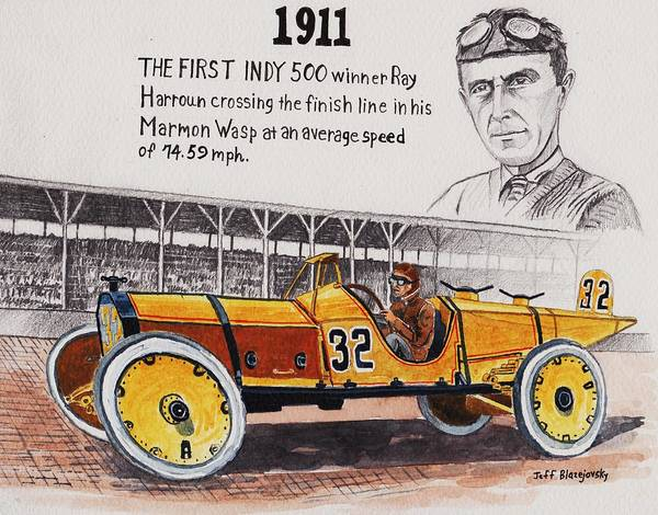 1911 indy 500 winner poster by jeff blazejovsky for Indianapolis painting company