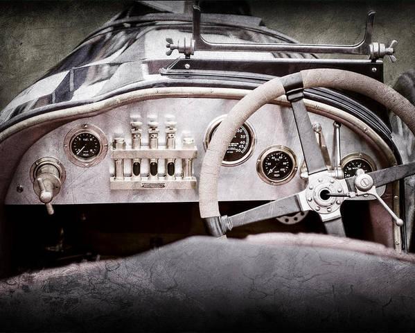 1925 Aston Martin 16 Valve Twin Cam Grand Prix Steering Wheel Poster featuring the photograph 1925 Aston Martin 16 Valve Twin Cam Grand Prix Steering Wheel -0790ac by Jill Reger
