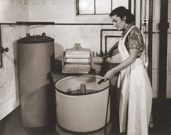 History Poster featuring the photograph 1930s State Of The Art Home Laundry by Everett