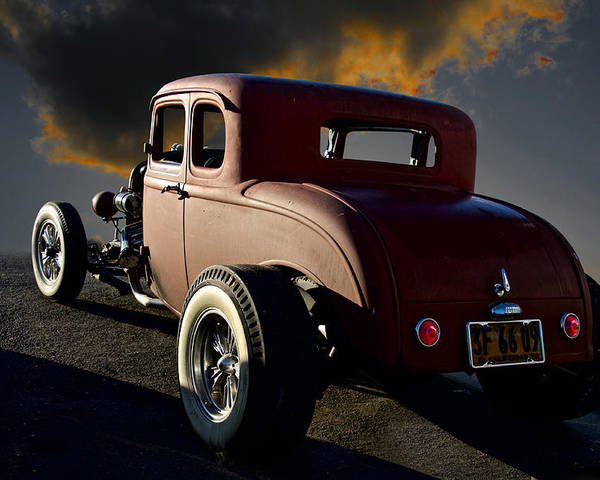 Auto Poster featuring the photograph 1932 Ford Five Window Coupe 'leaving Town' by Dave Koontz