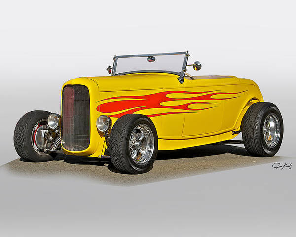 Auto Poster featuring the photograph 1932 Ford 'flame Game' Roadster by Dave Koontz