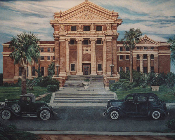 Architecture Poster featuring the painting 1936 Era Nueces County Courthouse by Diann Baggett
