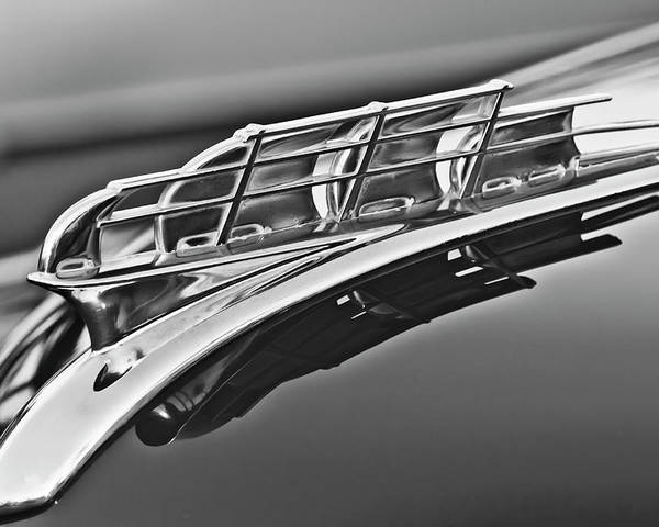1949 Plymouth Poster featuring the photograph 1949 Plymouth Hood Ornament 2 by Jill Reger