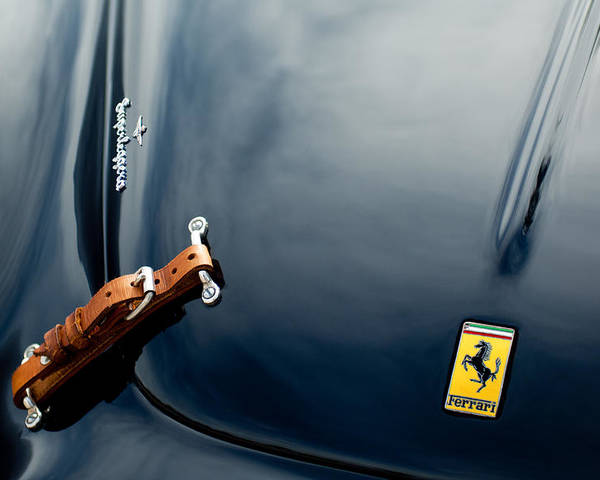 1950 Ferrari Poster featuring the photograph 1950 Ferrari Hood Emblem by Jill Reger