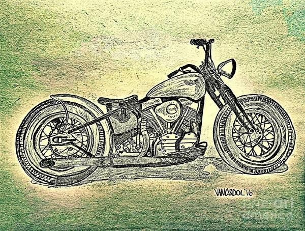 1950 Harley Davidson Panhead Motorcycle - Abstract Poster by Scott D ...