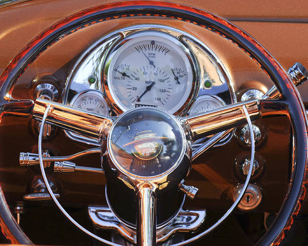 1950 Oldsmobile Poster featuring the photograph 1950 Oldsmobile Rocket 88 Steering Wheel 2 by Jill Reger