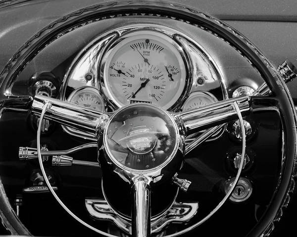 1950 Oldsmobile Rocket 88 Poster featuring the photograph 1950 Oldsmobile Rocket 88 Steering Wheel 4 by Jill Reger