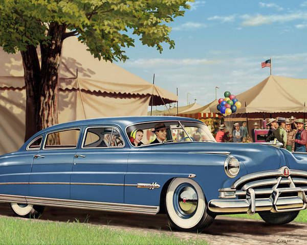 1951 Poster featuring the painting 1951 Hudson Hornet Fair Americana Antique Car Auto Nostalgic Rural Country Scene Landscape Painting by Walt Curlee