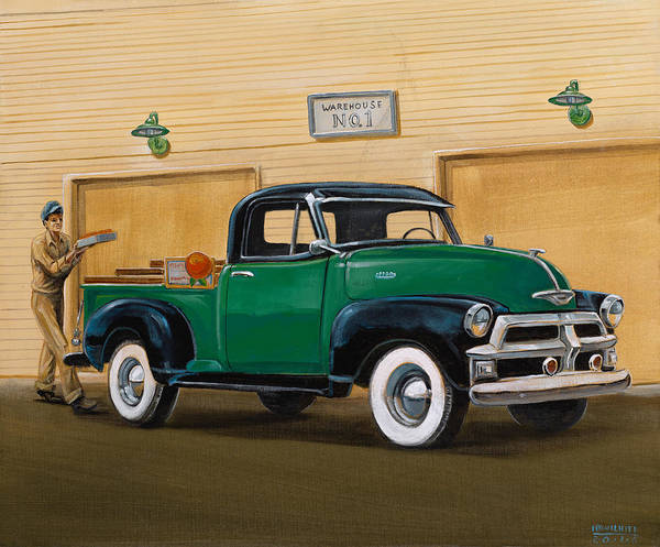 Nostaligic Poster featuring the painting 1952 Ford F100 Pickup by Hank Wilhite